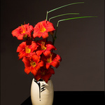 Red Lilies White Vase
